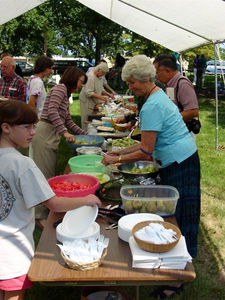 Church members at a picnic