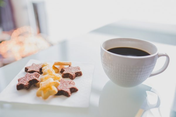 coffee and star cookies