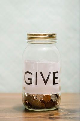 Give mason jar with change