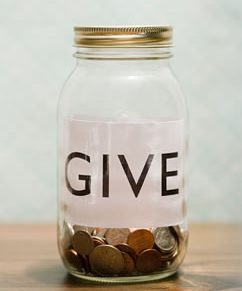 Give mason jar with change